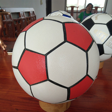 Promotional white red pu soccer ball football