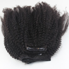 Remy mongolian afro kinky clip in cheap human hair for black ladies