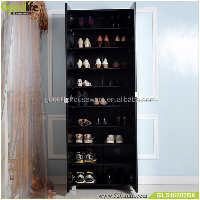 Hot summer products wooden giant shoe box shoe cabinet with full length mirror