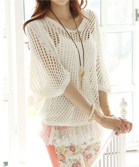 New arrival fashion long sleeve woman lace hollow out sexy tops