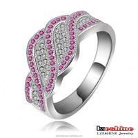 New Personality 2 Colors Czech Rhinestone Finger Ring Anel De Ouro CRI0075-B