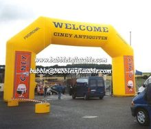 Yellow color Air sealed inflatable arch with banner for exhibition/inflatable archway