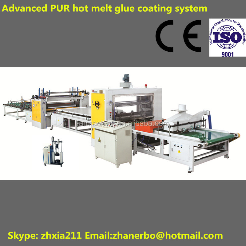 High speed veneer/acrylic/ paper/HPL lamination machine with pur glue