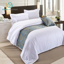 Green Mountain hotel supplies 3cm stripe bedding set 100 cotton white bed linen fabric
