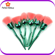 High quality 6pcs Nylon hair Green handle rose flower makeup brushes