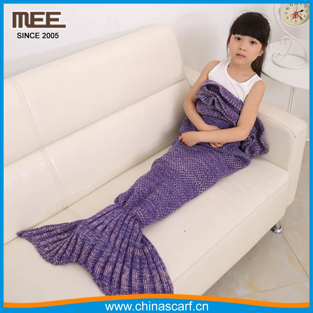 dream mermaid blanket knitted baby swaddle sleeping bag purple mermaid blanket