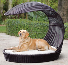 Mini canopy designed luxury hand woven outdoor garden pet sun lounger wicker dog bed