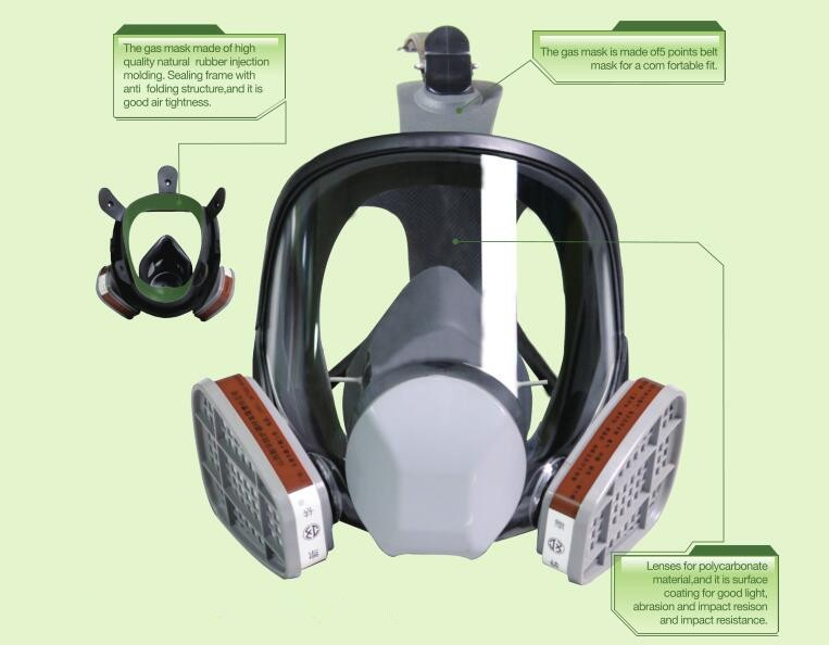 MF27 type natural rubber full face gas mask