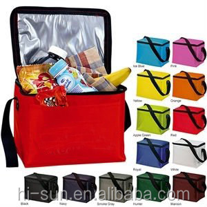 10 colors Cheap insulated 6 can kooler tote 70d nylon cheap cooler bag