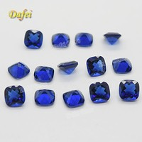 Beautiful Blue Cushion Faceted Synthetic Glass Gemstone