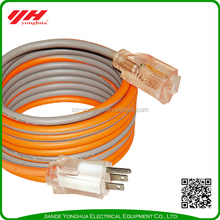 Waterproof and transparent outdoor extension cord with light socket