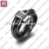 stainless steel black ceramic with diamonds spinning rings
