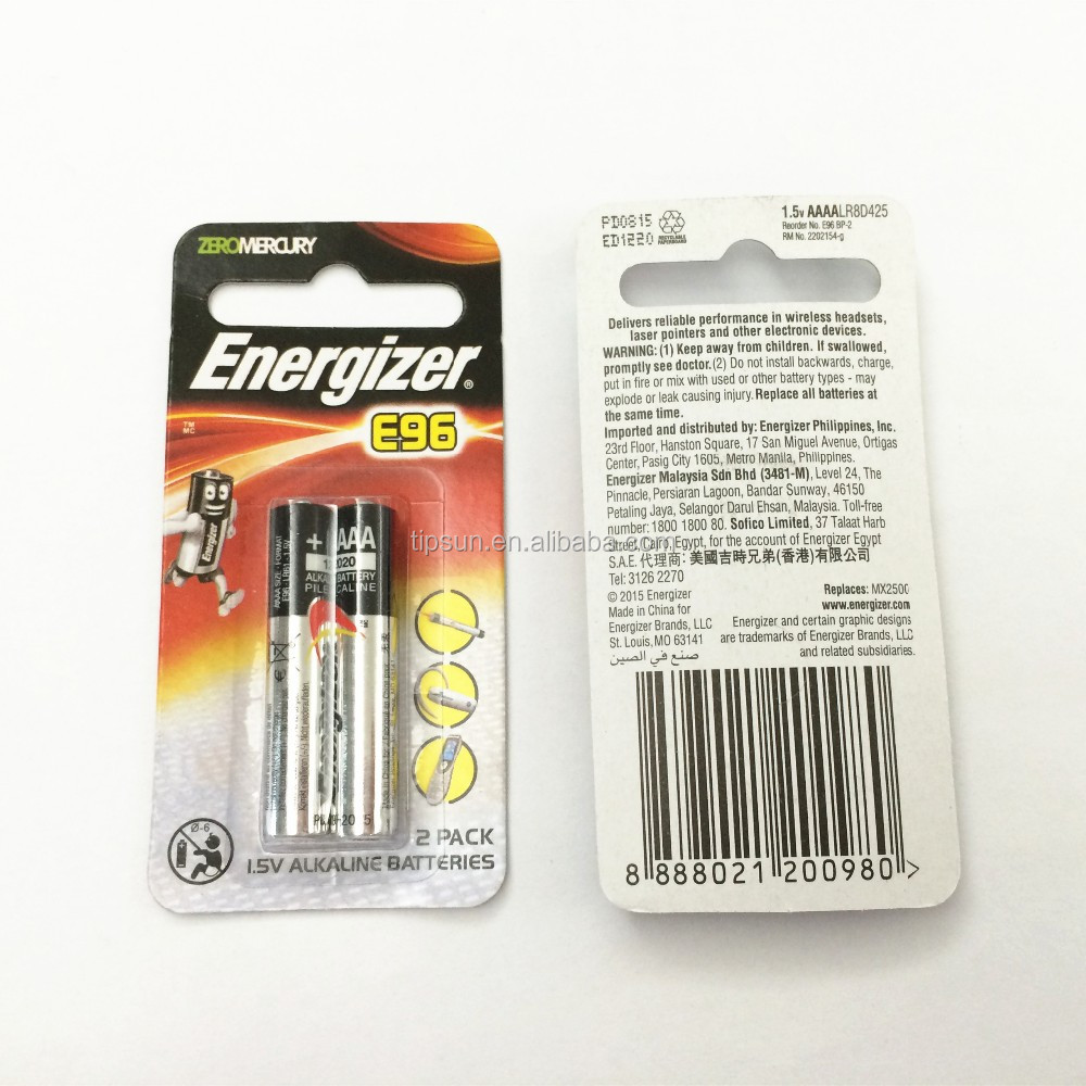 Blister card packaging 1.5V Energizer E96 AAAA 4A R61 Alkaline battery for PRO4 Stylus Pen