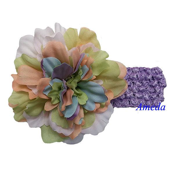 "Baby Girls Green Pastel 4.5"" Camellias Headband Hair Accessories"