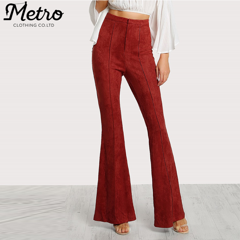 Wholesale Women High Waist Flare Bottom Red Suede Pants