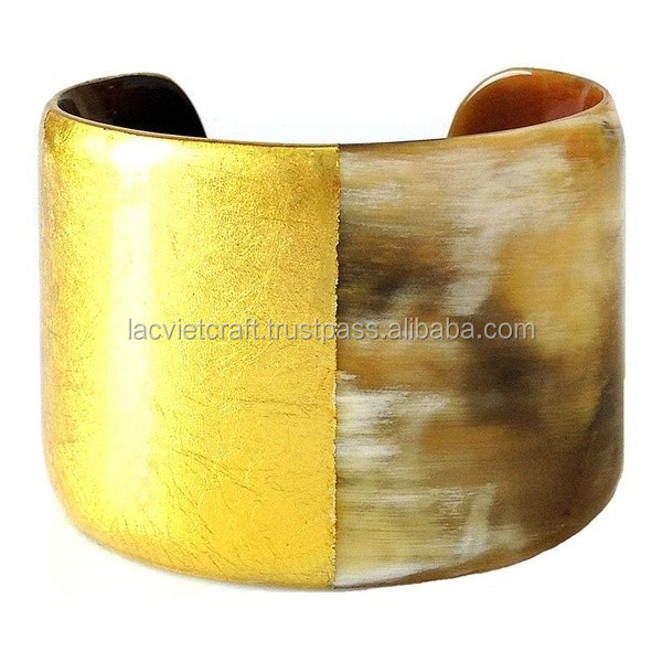 High quality best selling buffalo horn metallic gold yellow modern bracelet from Vietnam