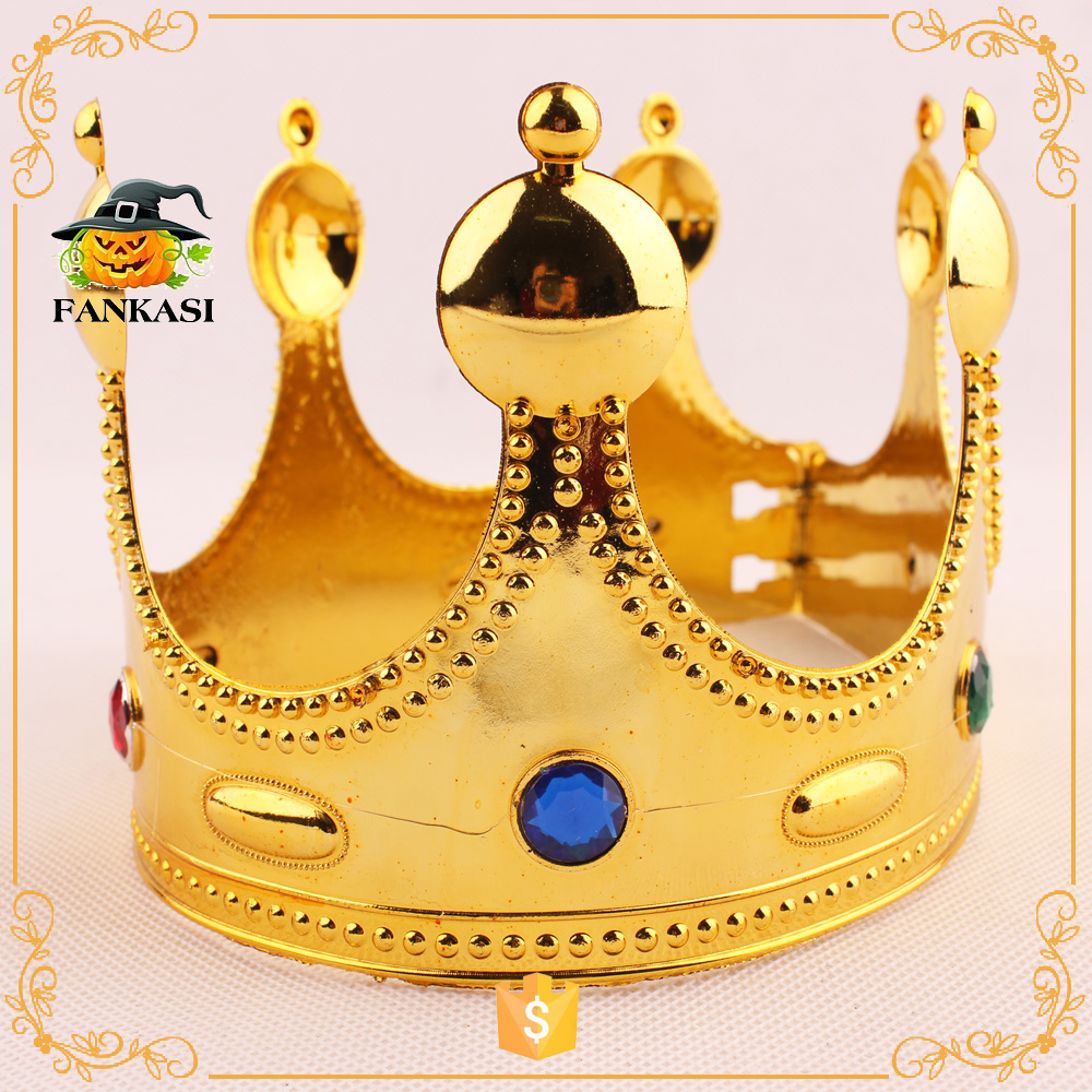 Plastic Gold Kings Crown Jeweled King Crown For Sale