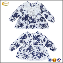 Ecoach Wholesale OEM New style white blue summer baby long sleeves Flower Print Pearls dress top quality cotton dress for girls