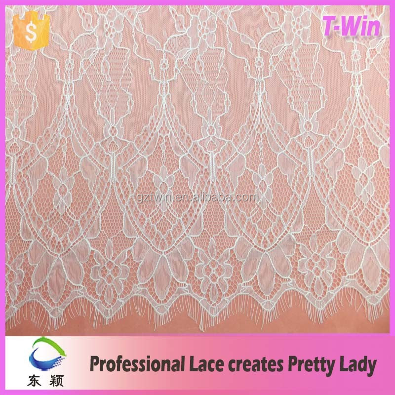 French bridal dress making fabric widen nylon cotton scalloped eyelash lace for ladies