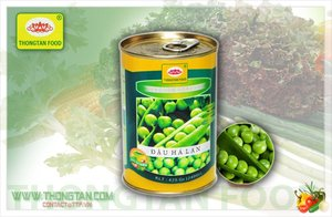 Canned green peas in 425ml tins