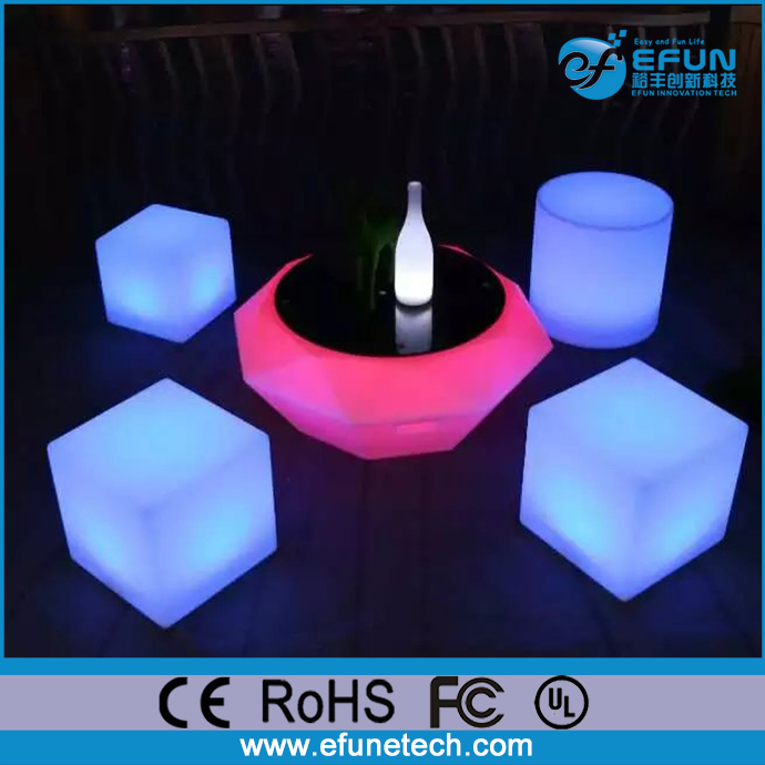 battery illuminated rgb color changing mood light coffee set led glow cube coffee table