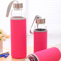 borosilicate glass water bottle glass bottle with portable nylon sleeve