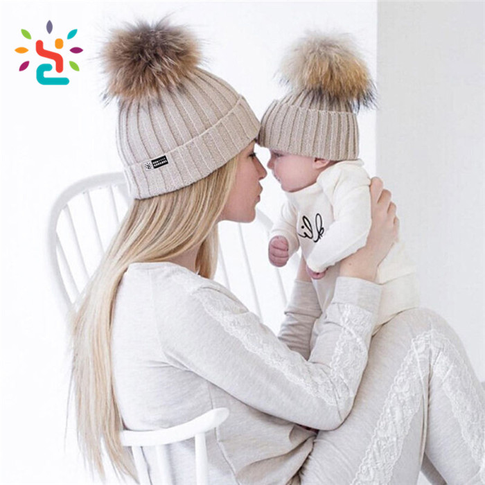 Mun and son Detachable ball beanie fold cap 100% Organic Cotton black  beanies cap top 65843f73756