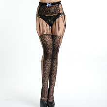Women girl black transparent stripes sexy sheer panties contrast stockings