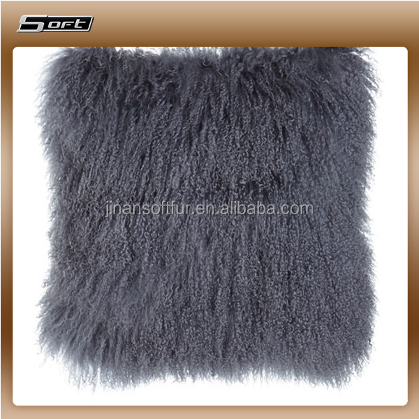 sheepskin material for upholstery Steel Gray Tibetan Lamb Pillow