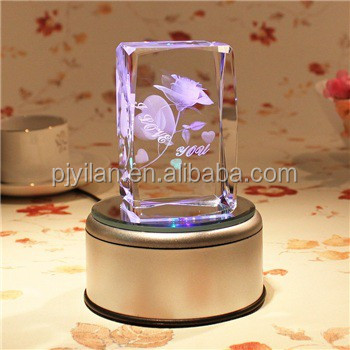 3d laser crystal block big rotary round crystal led light base for centerpieces