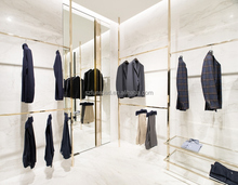 Brand clothing shop interior design fashion jewelry glass display shelves and clothes display cases