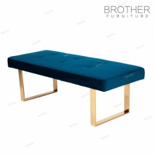 European style fabric knitted metal frame ottoman bench stool upholstered footstool ottoman