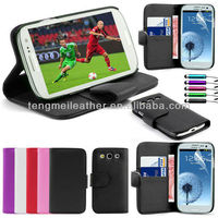 PU wallet flip pouch leather case for samsung galaxy s3 i3900,colorful wallet case for samsung galaxy s3