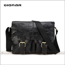 new design black leather convertible wide strap cell phone man small shoulder bag