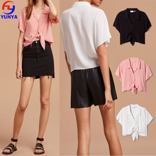 Summer ladies casual chiffon blouse neck models short sleeve blouse
