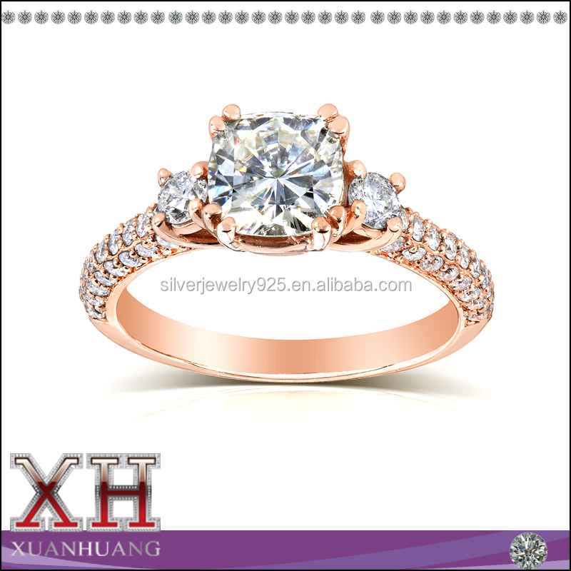 Rose Gold Silver Forever One Cushion Moissanite CZ Engagement Ring
