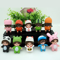 Lovely Colorful Mini Monchhichi Keychains Hot Car Key Chain Cat Hat PVC Monchichi Keychain Best Christmas Gift