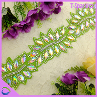 Factory directly sell cheap price rhinestone trimming, fabric rhinestone unique design garment trimmings for stylish clothes