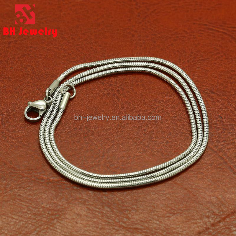 Professional Wholesale Stainless Steel Snake Chain Necklaces For Floating Locket Dongguan Accessories BHC0016