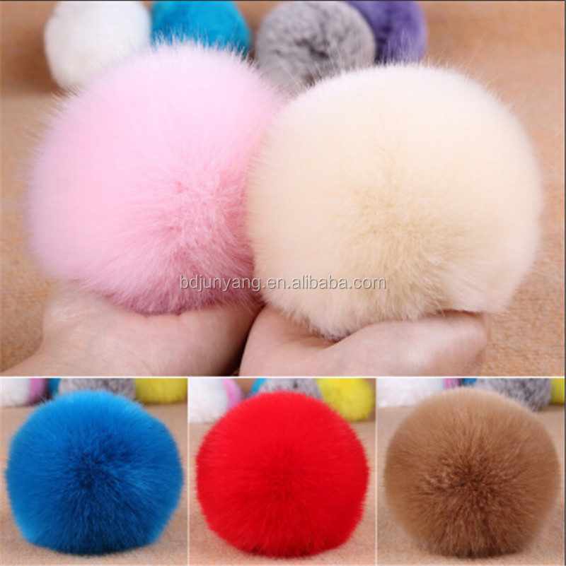 fur pom pom phone accessory fur ball on shoe/hat/hair rabbit pompons