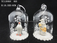 Christmas transparent glass hanging ball with penguin,santa figurine inside