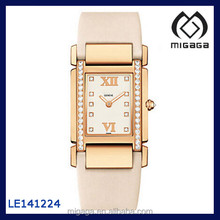 Fashion Rectangle Case Sythetic Diamond Setting Silk Strap Women's PP watch sapphire crystal diamond accent PP watch