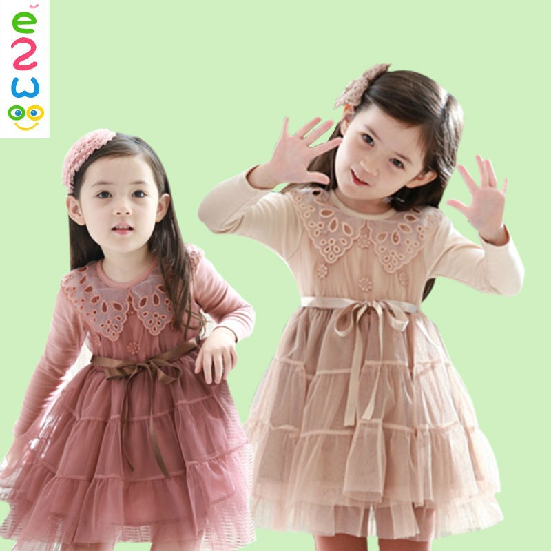 Alibaba Store Girl Children Princess Kids Long Sleeve Lace Dress Wholesale