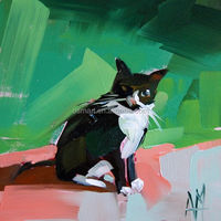 Strong Skill Artist Hand-painted Abstract Black and White Cat Oil Painting on Canvas Abstract Cute Animal Oil Painting