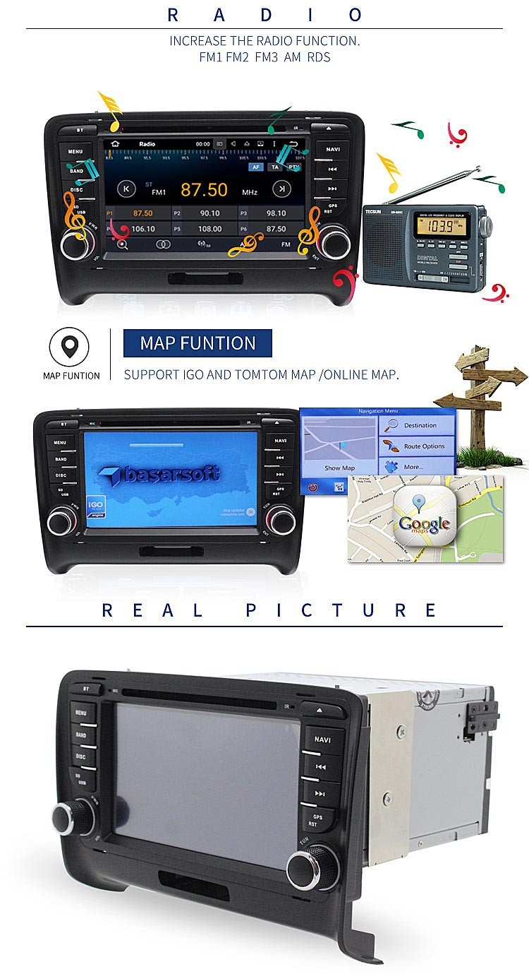 double din android car stereo gps navigation car steering wheel for au d i TT