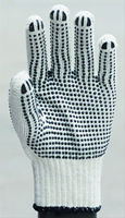 pvc diotted cotton glove/haircut latex glove