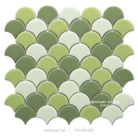 Glossy Candy Solid Glass Green Fish Scale Shape Tile