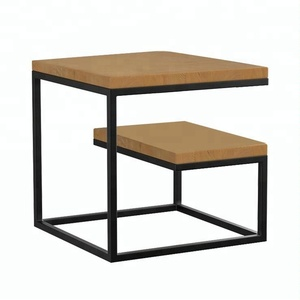 Movable Small Cube Wooden Bed Side Table