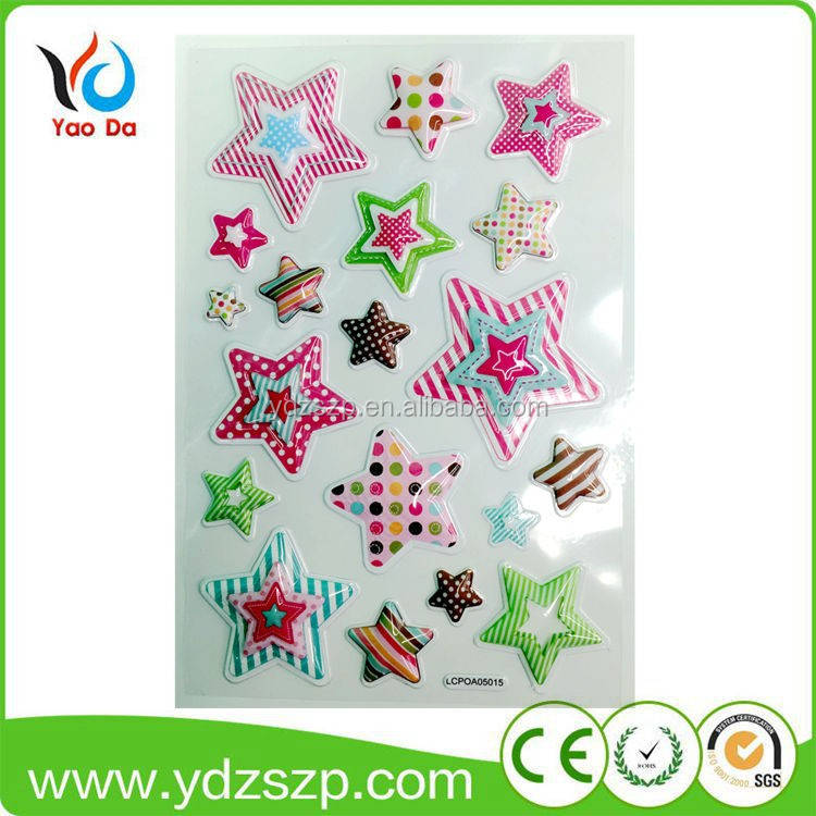 eco-friendly custom star shaped sponge 3d foam puffy sticker for kids room decor wholesale