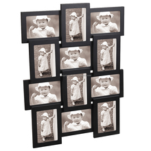 Decorative Black Wood Wall Hanging Collage Picture Photo Frame 12 Openings 4x6